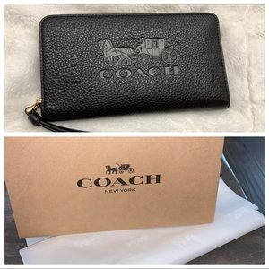 GIFT READY! COACH Jes Large Phone Wallet - BlK NWT